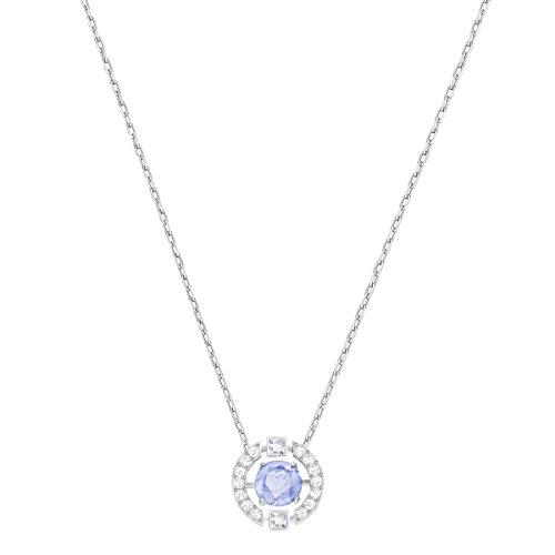 Swarovski Sparkling Dance Round Halskette, Rhodinierte Damenhalskette mit Einem Funkelnden, Blauen Swarovski Kristall