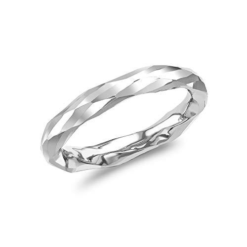 Carissima Gold Anillo Facetado (Corte de Diamante) para Mujer de Oro Blanco 9K (375) - Talla 13.5