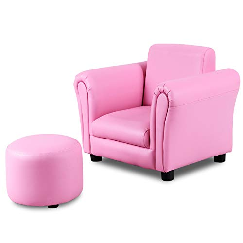 COSTWAY Kindersofa Kindersessel Kindercouch Babysessel Kinder Sofa Sessel mit Fußschemel Farbwahl (Rosa)