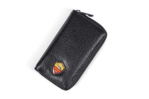 AS Roma Schlüsselanhänger Leder mit Reißverschluss Logo aus versilbertem Metall Unisex Erwachsene, Schwarz, One Size