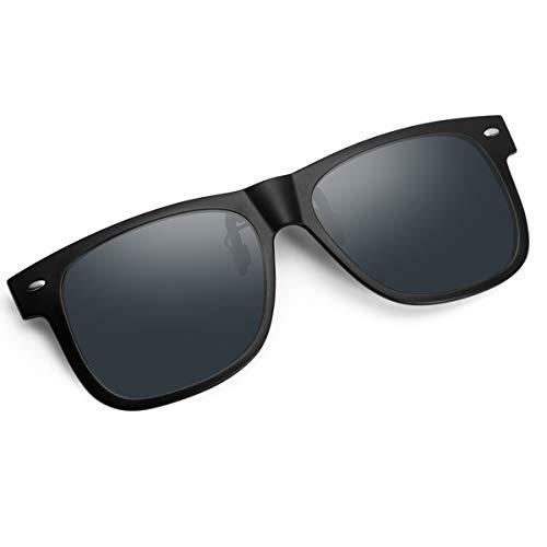 クリップオン 前掛け 偏光サングラス ウェリントン サングラス めがねの上から ワンタッチ装着 スモーク メガネに取り付け