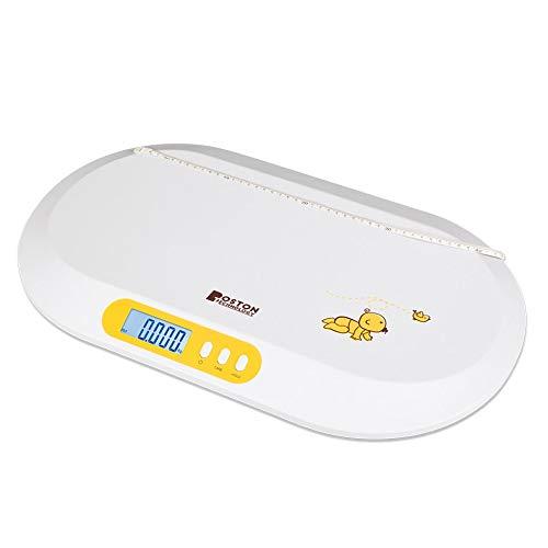 Boston Tech BA-104 - Bascula para bebés y Mascotas. Balanza digital con pantalla LCD y tallimetro con Función Tara, Ideal para calcular el peso de su bebe con capacidad de hasta 20Kg (44lb)