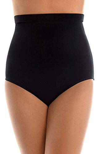 Magicsuit Women's Swimwear High Waisted Brief Maximum Coverage Swim Bottom, Black, 14