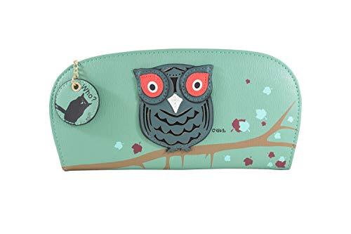 CH Handel Damen Geldbörse Portemonnaie Eule Design mit Reißverschluss klein, Farbe:grün