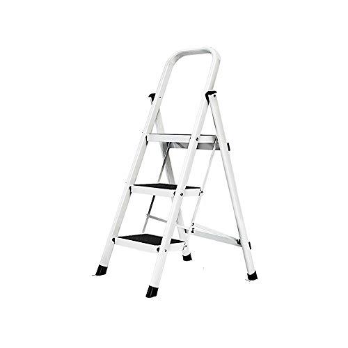 3 Peldaños Plegable Escalera De Mano Hogar 4 5 Peldaños Aleación De Aluminio Escalera Interior Y Exterior Estante Soporte De Flores Soporte De Carga 150 Kg Blanco 3 Pasos