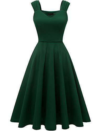 DRESSTELLS Damen 1950er Rockabilly Kleid Damen Sommerkleid a Linie cocktailkleider trägerkleider DarkGreen L