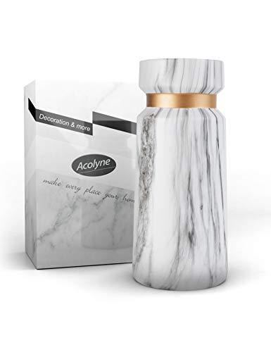 Acolyne Premium Vase Weiß aus Hochwertigen Keramik [mit Ebook] als Moderne Marmor-Optik | Blumenvase Weiß als Marmor Deko | Weiße Vase | Vasen Deko auch geeignet für Pampasgras