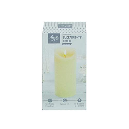 Premier Textured Candle With Timer 18 x 9cm Cream