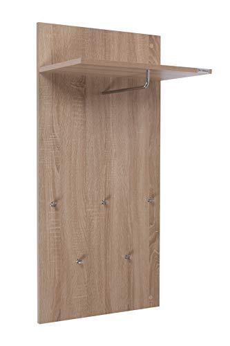 ts-ideen Garderobe Wandgarderobe Flur Diele Paneel Hakenleiste Holz Sonoma Eiche Optik mit 5 Haken, Ablage und einer Stange in 100 x 49 cm