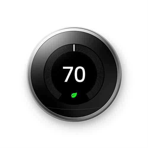 Termostato para Nest Learning Google T3007ES 3ª Geração, Aço Inoxidável, Funciona com Amazon Alexa, 1