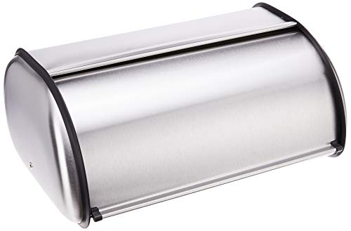 Oggi Stainless Steel Roll Top Bread Box, Silver, 17.50 Inch by 7.50 Inch by 11.50 Inch