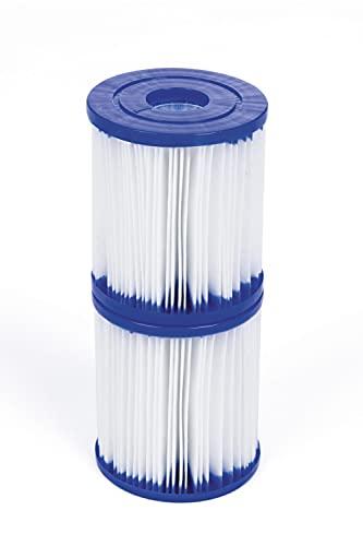 BESTWAY 58093 - Set de Dos Filtros de Agua Tipo I para Depuradora de Cartucho 1.249 litros hora para Bombas de 220-240 V Ø8x9 cm Fácil de Limpiar y Colocar