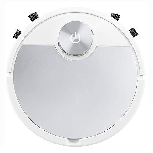 Robot Aspirador de pisos de mopa inteligente Limpiador automático recargable de polvo de suciedad, Control APP súper silencioso, Pelo de mascota Piso duro,Silver