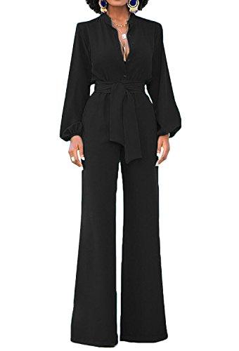 Combinaison élégante pour dames Minetom à jambes longues et larges a taille haute avec ceinture bureau d'affaires et manches longues look décontracté. - Noir - 46