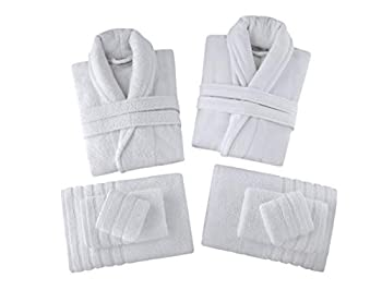 Classic Turkish Towels His and Hers Bathrobe Gift Box Set - Includes Velour and Terry Shawl Robes and 6 Piece Towel Set Made with 100% Turkish Cotton