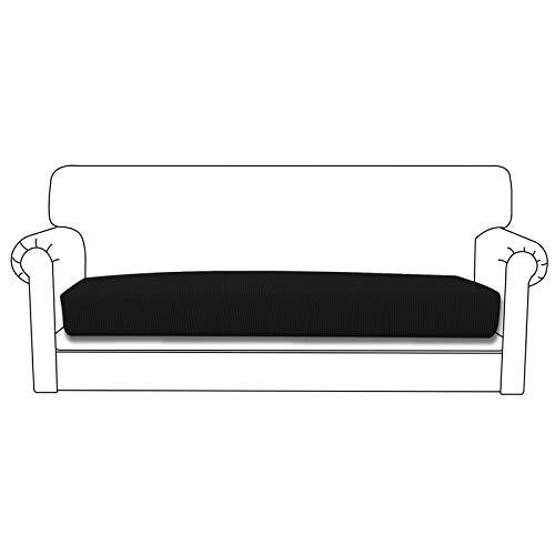 Easy-Going Funda de cojín elástica para sofá o sofá, funda para sofá y sofá, suave flexibilidad con parte inferior elástica (cojín de sofá, color negro)