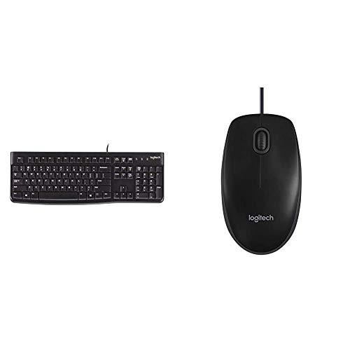 Logitech K120 Tastiera Cablata Business per Windows/Linux, USB & B100 Mouse USB Cablato, 3 Pulsanti, Rilevamento Ottico