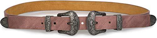 styleBREAKER Gürtel mit doppelter verzierter Schnalle im Western Style, B-Low Belt, Taillengürtel, kürzbar, Damen 03010085, Farbe:Altrose dunkel, Größe:95cm