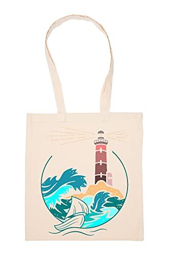Gunmant Phare Par le Mer Sac à Provisions Beige Réutilisable Durable écologique Reusable Shopping Bag