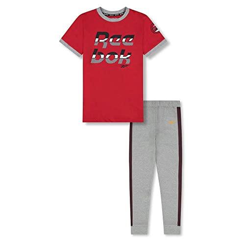 Reebok Boys' 2-Piece Clothing Set-Short Sleeve Crewneck T-Shirt + Comfy Fleece Jogger Sweatpants, Vector RED, S(8)
