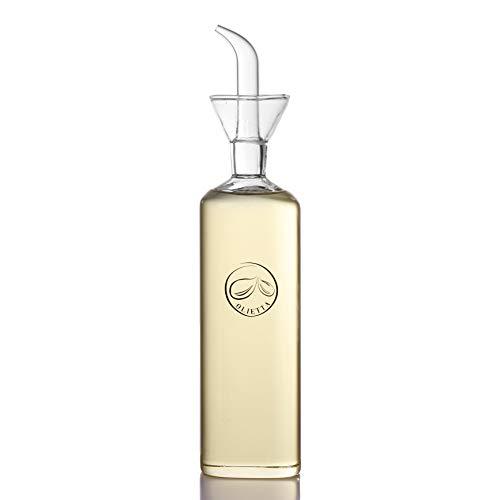 Olietta Aceitera Antigoteo Tipo Botella de Cristal a Prueba de Fugas 500ML 0.5 litros – Aceitera de Cristal Ideal para Verter y Rociar Aceite de Oliva, Vinagre u Otros Líquidos – Fácil de Limpiar