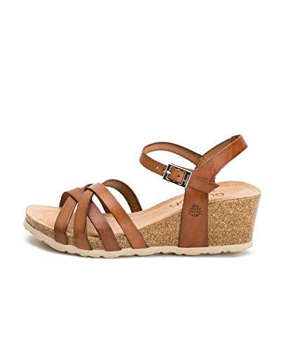 Cadiz 71 Damen-Sandalen mit Keilabsatz, Leder, Braun - braun - Größe: 40 EU