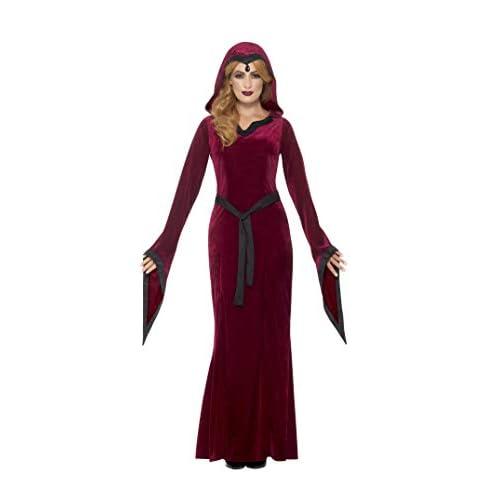 SMIFFYS Costume vampira medievale, Bordeaux, con vestito, cappuccio e cintura