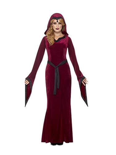Smiffys Damen Mittelalterliche Vampirin Kostüm, Kleid mit Kapuze und Gürtel, Größe: 44-46, 45115