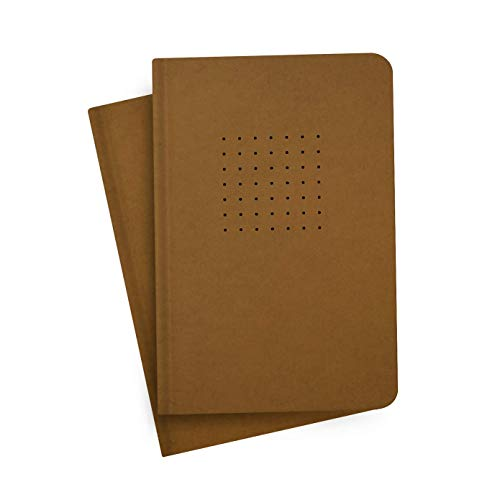 Factor Notes Notebooks: 2-in-1 Pack, 90 GSM Ivory Shade Paper Journal Diary, A5 Size, 320 Pages (Kraft, Dot Grid)