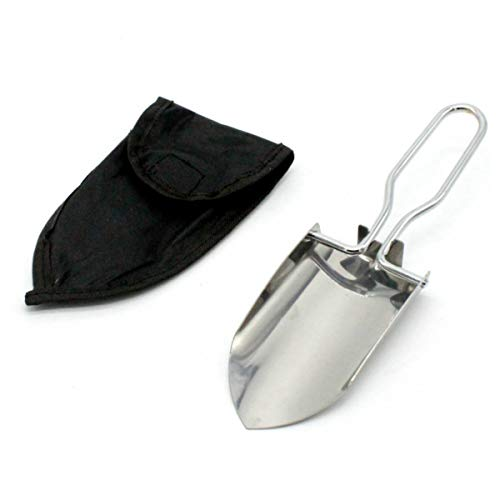 JMAF Stainless Steel Folding Trowel Great for Light Gardening and Camping, Comes in a Holster
