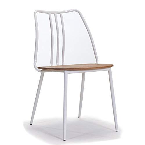 Moderner einfacher Freizeitstuhl aus massivem Holz Amerikanischer Retro-Eisenstuhl aus massivem Holz mit Rückenlehne und Kaffeetisch und Stühlen Lange andauernd (Color : White)