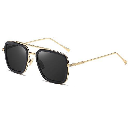 Gafas De Sol para Hombre Y Mujer Moda Gafas ProteccióN para ConduccióN Gafas De Deportes Al Aire Libre De Pesca De Moda Regalo de San Valentín (Color : Black Gold)