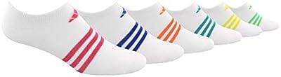 adidas Women's Superlite No Show Socks (6-Pair), White/Real Pink/Hi - Res Blue/Hi - Res Orange/Hi - Res A, Medium, (Shoe Size 5-10)