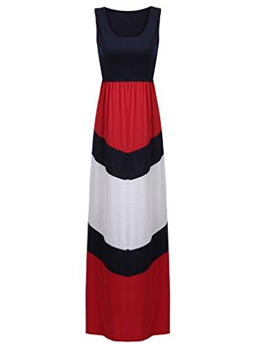 Sherosa Women's Summer Casual Loose Striped Long Dress Sleeveless Maxi Dress (M, Red)