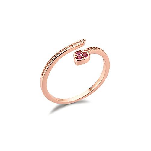 Anillos de manguera de corazón redimensionables de oro plateado 925 joyas de fiesta de boda de lujo para mujer para ajuste de rueda Rock Punk-oro rosa