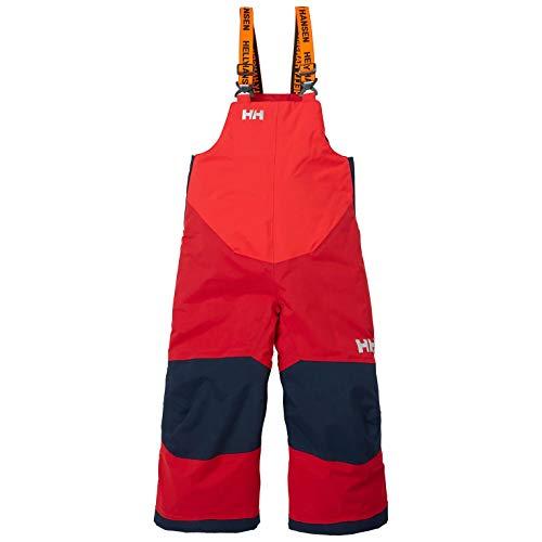 Helly-Hansen Unisex-Child Rider 2 Bib Waterproof Insulated Winter Snow Pant Overalls, 162 Red, Size 4