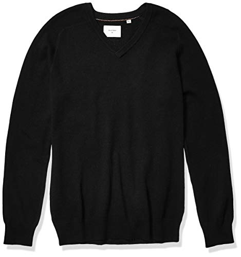 Billy Reid Men's Extrafine Merino Wool Cashmere Pullover V-Neck Sweater, Black, L