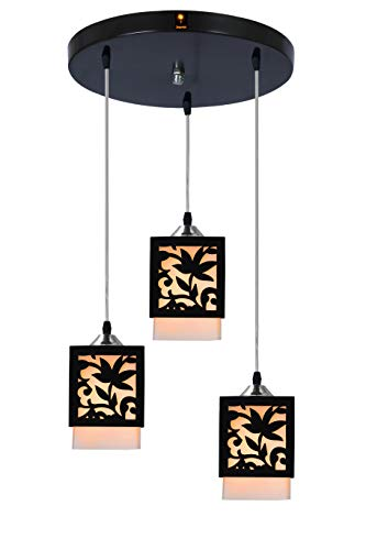 Imper!al 3 Lights Lotus Chandelier Hanging Pendant Ceiling Light with E27 Bulb (Brown and White)