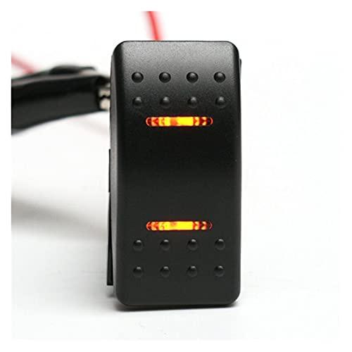 MMYX 7 Pines 12V 24V Barco de Coche a Prueba de Agua Camión de autobús Marino Todo coloar Double LED Luz Rocker Switch Accesorios para automóviles (Color : Orange)
