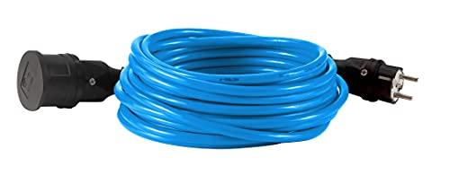 HEDI Cable alargador H07BQ-F 3G1,5 Plus 10 m, Color Azul, para Uso al Aire Libre, con Toma de Tierra/acoplador, VK10QF060, Multicolor