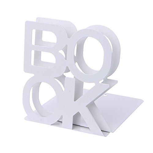 Nangjiang 1 Paar Halterung für Bücher aus Metall in Form eines Alphabets weiß