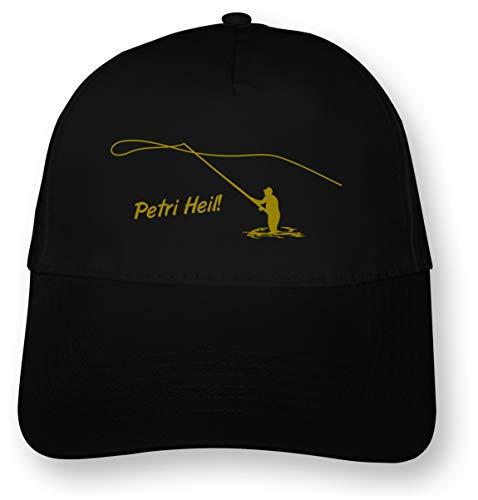 Samunshi® Angler Kappe Fliegenfischer Cap 5 Panel Cap OneSize schwarz/Gold-metallic