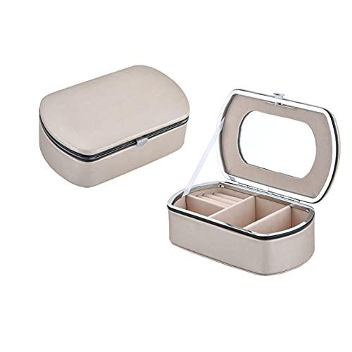 QKFON Mini organizador de joyas, caja de almacenamiento de joyería de cuero de la PU, pequeña caja de joyería portátil para anillos, pendientes collares