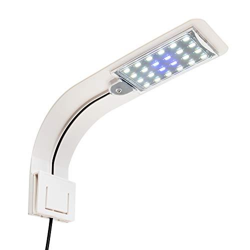 NICREW Lampe LED Ultra-Mince pour Petit Aquarium, Mini Lampe Pince Aquarium avec 24 LED Lumière Blanche et Bleue pour Aquarium de 30-40 cm, 10W (Blanche)