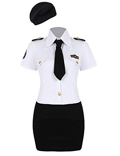 MSemis Disfraz de Policía Sexy para Mujeres Uniformes Policía 4Pcs Traje Camisa Falda Corta Gorra y Corbata Disfraces Adulto Halloween Fiesta Negro y Blanco 3XL