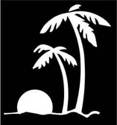 Beach Sunset Palm Trees Ocean Vinyl Decal Sticker|White|Cars Trucks Vans SUV Laptops Wall Art|5.5' X 5.25'|CGS390
