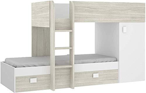 Estilo minimalista camas plegables modernas elegantes de literas para niños, adecuado para la habitación de los hijos de ahorro de espacio con literas para los niños,Wood colorWhite