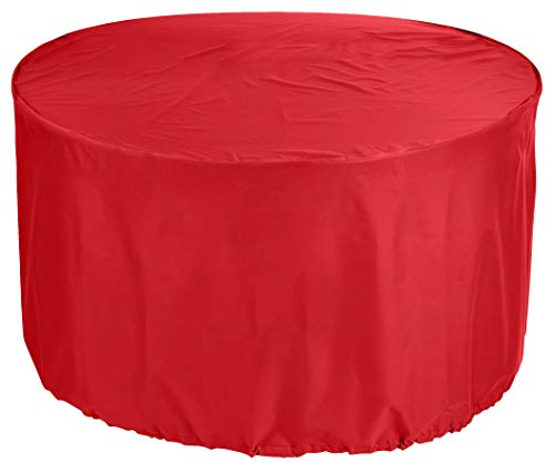 KaufPirat Premium afdekzeil rond Ø 180x80 cm zonne-eiland tuinmeubelen tuintafel afdekking beschermhoes afdekhoes outdoor rond patio tafel rood