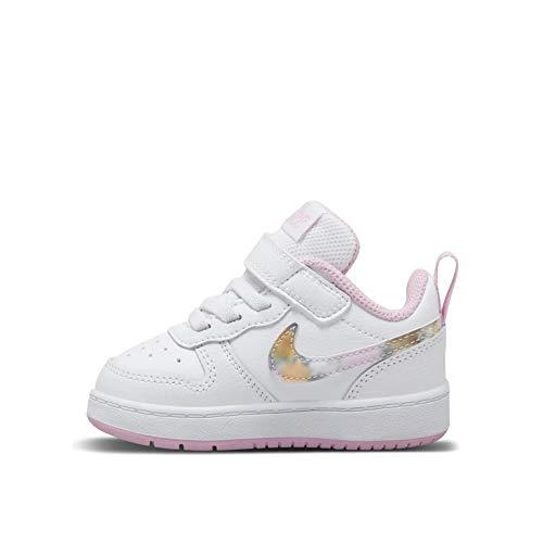Nike Baby-Boys Court Borough Low 2 SE (TDV) Sneaker, White/Multi-Color-Light Arctic Pink, 21 EU