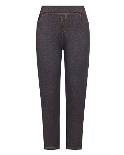 Kendindza Damen Thermo-Leggings Jeans-Look gefüttert mit Innen-Fleece Basic Winter Blickdicht (Schwarz, XXXL)